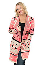 Rock & Roll Cowgirl Women's Neon Pink, Black, and White Aztec Print Long Sleeve Cardigan