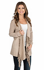 Anne French Tan Knit and Faux Suede with Fringe Long Sleeve Cardigan