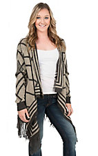 Rock & Roll Cowgirl Women's Tan & Grey Geometric Design Long Sleeve Sweater Cardigan