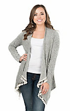 Rock & Roll Cowgirl Women's Heather Grey with Tassels Long Sleeve Cardigan