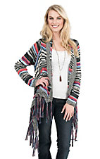 Rock & Roll Cowgirl Women's Multi Colored Striped Long Sleeve Cardigan