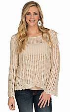 RD Style Women's White Holly Crochet Sweater