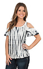 Rock & Roll Cowgirl Women's Black and White Tie Dye Cold Shoulder Short Sleeve Fashion Top