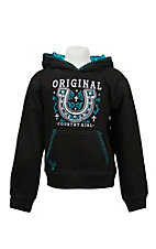 Cowgirl Hardware Girl's Black with Embroidered Horseshoe Pullover Hooded Sweatshirt