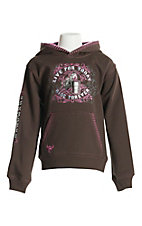 Cowgirl Hardware Girl's Brown Barrel Live Pullover Hooded Sweatshirt