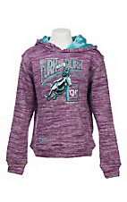 Cowgirl Hardware Girl's Purple with Rhinestone Turn and Burn Pull Over Hoodie