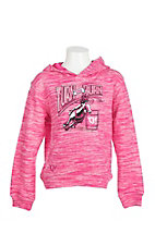 Cowgirl Hardware Girl's Pink with Turn and Burn Embroidery Long Sleeve Pull Over Hoodie