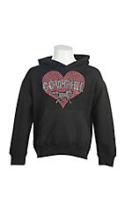 Cowgirl Hardware Girl's Black with Pink Studded Cowgirl Heart Long Sleeve Pull Over Hoodie