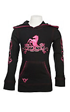 Cowgirl Hardware Girl's Black with Pink Embroidered Horse Hoodie