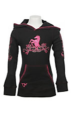 Cowgirl Hardware Girl's Black with Pink Horse Embroidery Long Sleeve Waffle Knit Hoodie
