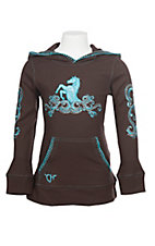 Cowgirl Hardware Girl's Brown with Turquoise Embroidered Horse Hoodie