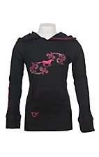 Cowgirl Hardware Girls' Black Waffle Embroidered L/S Shirt