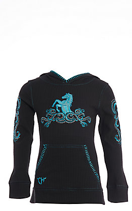 Cowgirl Hardware Girls' Black with Turquoise Filigree Horse Long Sleeve Waffle Knit Hooded Top