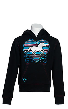 Cowgirl Hardware Girls' Black with Turquoise Serape Heart and Horse Hooded Sweatshirt