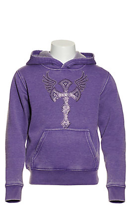 Cowgirl Hardware Girl's Purple with Crystal Winged Cross Pullover Hoodie