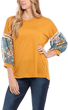 Grace & Emma Women's Mustard Floral Fashion Top
