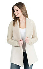 Steel Roses Women's Stone Faux Fur with Sweater Back and Long Sleeve Jacket