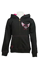 Cowgirl Hardware Girl's Black with Winged Heart Zip Hooded Sweatshirt Jacket