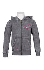 Cowgirl Hardware Girl's Grey with Pink American Cowgirl Embroidered on Back Long Sleeve Zip Up Hoodie