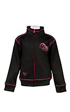Cowgirl Hardware Girl's Black with Pink Embroidered Horse Long Sleeve Jacket