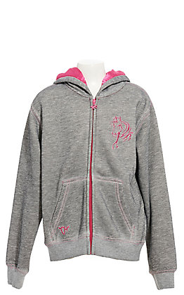 Cowgirl Hardware Girls' Graphite Gray Bella Horse Full Zip Hooded Jacket