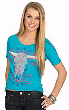 Rock & Roll Cowgirl Women's Blue Aztec Print & Silver Studded Steer Skull Short Sleeve Tee