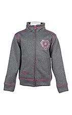 Cowgirl Hardware Girl's Grey and Pink Embroidered Long Sleeve Jacket
