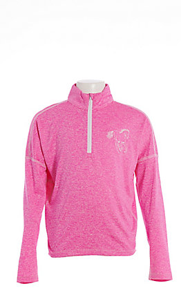 Cowgirl Hardware Girls' Pink with Horse Sports Knit Pullover Shirt