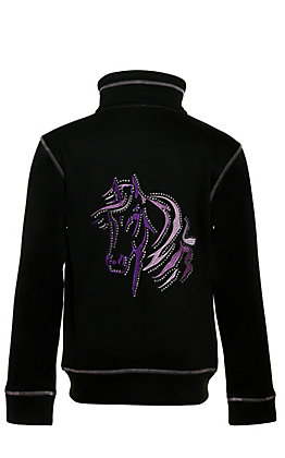 Cowgirl Hardware Girls' Black with Purple Horse Embroidery and Bling Long Sleeve Zip Up Jacket