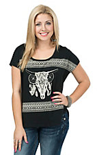 Rock & Roll Cowgirl Women's Black Aztec Steer Skull Boxy Tee