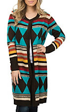 Anne French Women's Chocolate & Teal Sweater Cardigan