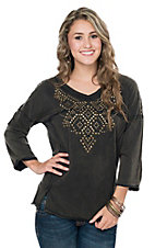 Rock & Roll Cowgirl Women's Mineral Wash Black with Brass Studs 3/4 Sleeve Top