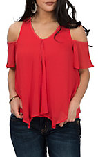 Rock & Roll Cowgirl Women's Red Cold Shoulder Fashion Shirt