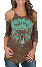 Rock & Roll Cowgirl Women's Washed Brown with Turquoise Steerhead Cold Shoulder 3/4 Sleeves Casual Knit Top