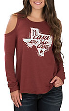 Rock & Roll Cowgirl Women's Burgundy Mi Casa Texas Cold Shoulder Long Sleeve Casual Knit Top
