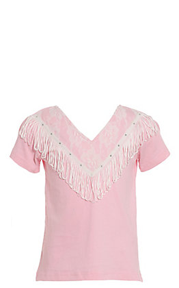 Lore Mae Girls' Pink Lace with Fringe Short Sleeve Tee