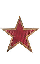 Evergreen Red Metal Star with Wood Outline Wall Art
