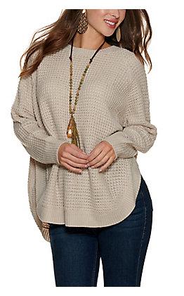 Magnolia Lane Women's Birch Waffle Knit Long Sleeve Sweater