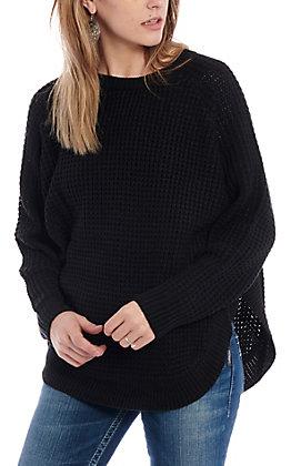Magnolia Lane Women's Black Waffle Sweater