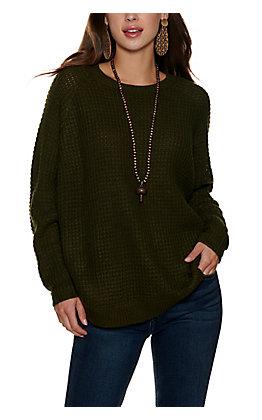 Magnolia Lane Evergreen Waffle Knit Long Sleeve Sweater