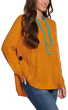 Magnolia Lane Women's Mustard Waffle Knit Long Sleeve Sweater