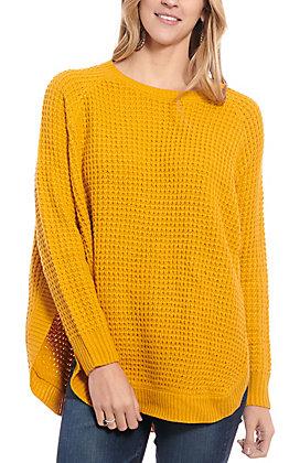 Rockin' C Women's Mustard Waffle Sweater