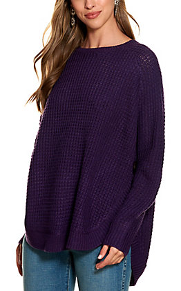 Magnolia Lane Women's Purple Waffle Weave Long Sleeved Sweater