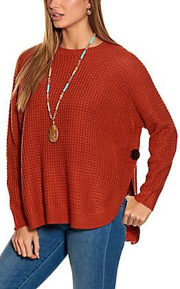 Magnolia Lane Women's Rust Waffle Knit Long Sleeve Sweater