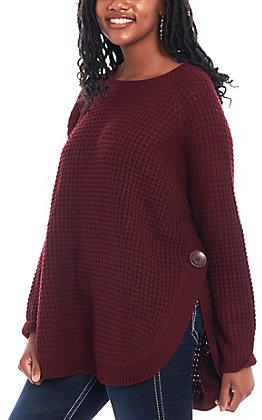 Magnolia Lane Women's Wine Waffle Sweater