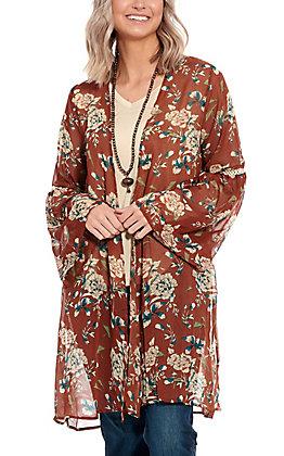 Grace & Emma Rust Floral Print Bell Sleeve Kimono