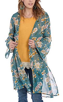 Grace & Emma Women's Teal Floral & Lace Kimono