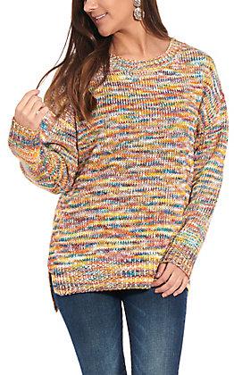Anne French Women's Multi Colored Hi-Lo Sweater