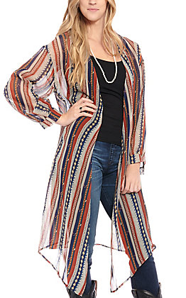 Grace & Emma Women's Navy & Rust Aztec Striped Kimono