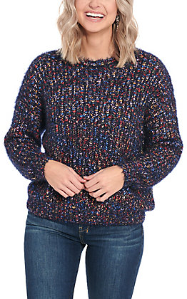 Anne French Women's Navy Multi Colored Sweater